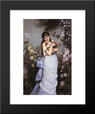 A Young Woman In A Rose Garden:  Modern Black Framed Art Print by Auguste Toulmouche