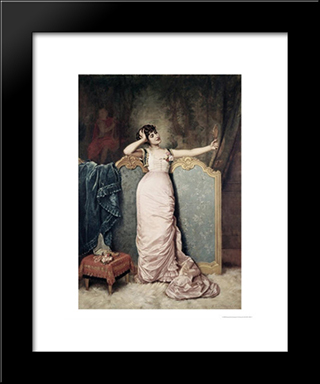 Admiring Herself:  Modern Black Framed Art Print by Auguste Toulmouche