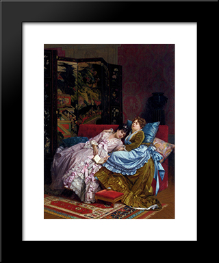 An Afternoon Idyll:  Modern Black Framed Art Print by Auguste Toulmouche