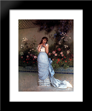 An Elegant Beauty:  Modern Black Framed Art Print by Auguste Toulmouche