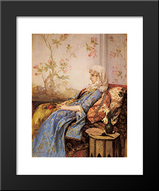An Exotic Beauty In An Interior:  Modern Black Framed Art Print by Auguste Toulmouche