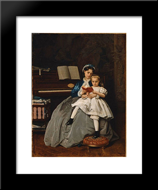 Reading Lesson:  Modern Black Framed Art Print by Auguste Toulmouche