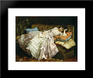 Sweet Doing Nothing:  Modern Black Framed Art Print by Auguste Toulmouche