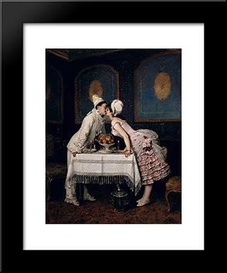 The Kiss:  Modern Black Framed Art Print by Auguste Toulmouche
