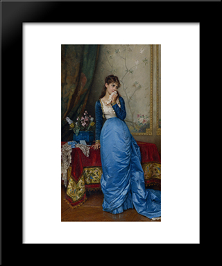 The Letter:  Modern Black Framed Art Print by Auguste Toulmouche