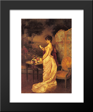 The Love Letter:  Modern Black Framed Art Print by Auguste Toulmouche