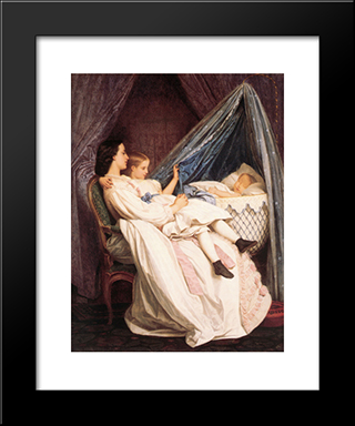 The New Arrival:  Modern Black Framed Art Print by Auguste Toulmouche
