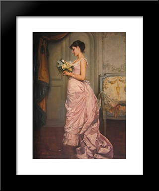The Ticket:  Modern Black Framed Art Print by Auguste Toulmouche