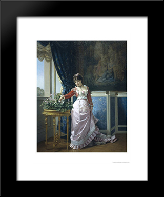 Watering The Flowers:  Modern Black Framed Art Print by Auguste Toulmouche