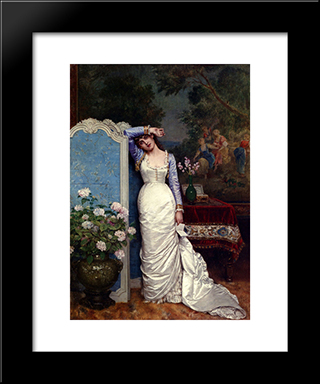 Young Woman In An Interior:  Modern Black Framed Art Print by Auguste Toulmouche