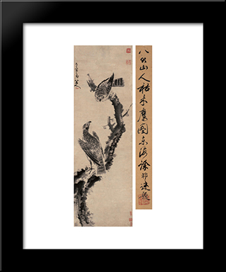 Eagles In Withered Tree:  Modern Black Framed Art Print by Bada Shanren