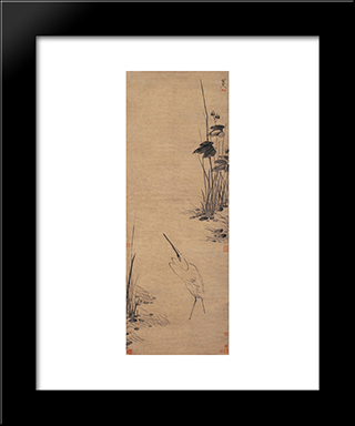 Egret By The Pool:  Modern Black Framed Art Print by Bada Shanren