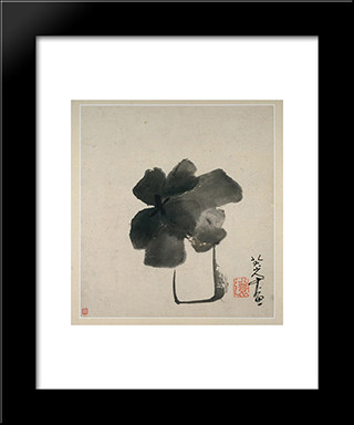 Flower In Jar:  Modern Black Framed Art Print by Bada Shanren