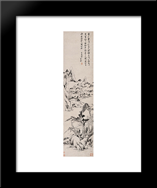 Landscape (Dong Yuan And Juran Style):  Modern Black Framed Art Print by Bada Shanren