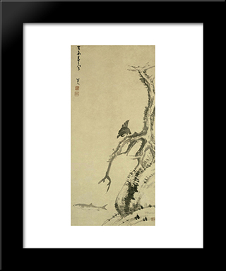 Mynah Bird On An Old Tree:  Modern Black Framed Art Print by Bada Shanren