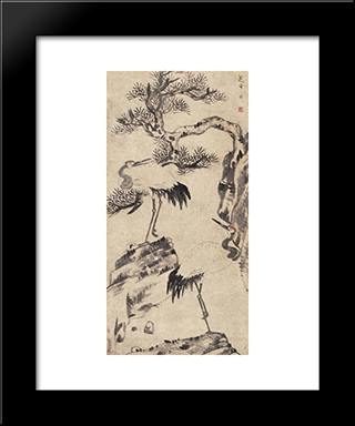 Pine And Cranes:  Modern Black Framed Art Print by Bada Shanren