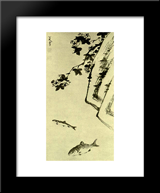 Rock And Two Fish:  Modern Black Framed Art Print by Bada Shanren