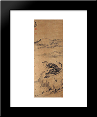Two Wild Geese:  Modern Black Framed Art Print by Bada Shanren