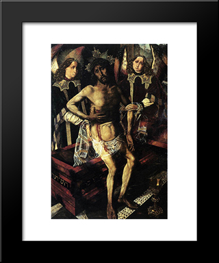Christ At The Tomb Supported By Two Angels:  Modern Black Framed Art Print by Bartolome Bermejo