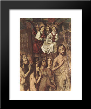 Christ Leading The Patriarchs To The Paradise (Detail):  Modern Black Framed Art Print by Bartolome Bermejo