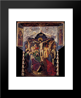 Crucifixion:  Modern Black Framed Art Print by Bartolome Bermejo