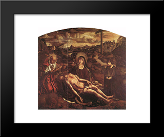 Pieta Of Canon Luis Despla:  Modern Black Framed Art Print by Bartolome Bermejo