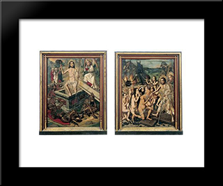 Resurrection And Descent Of Christ To Limbo:  Modern Black Framed Art Print by Bartolome Bermejo