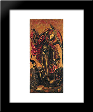 Saint Michael Triumphs Over The Devil:  Modern Black Framed Art Print by Bartolome Bermejo