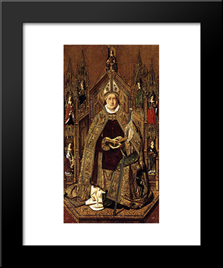 St Dominic Enthroned In Glory:  Modern Black Framed Art Print by Bartolome Bermejo