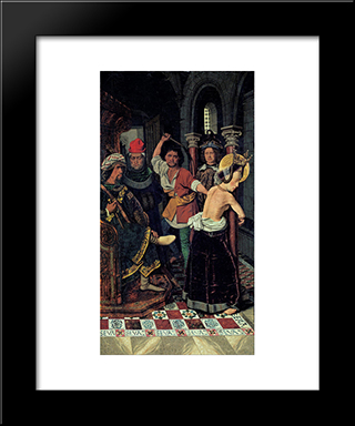 The Flagellation Of St Engracia:  Modern Black Framed Art Print by Bartolome Bermejo