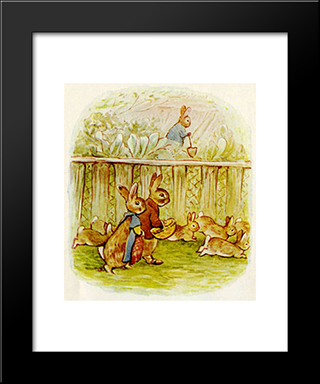 Benjamin And Flopsy Bunny:  Modern Black Framed Art Print by Beatrix Potter