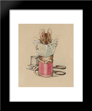Frontispiece. The Tailor Mouse:  Modern Black Framed Art Print by Beatrix Potter