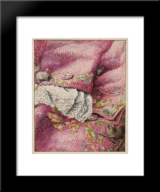 Helen Beatrix Potterthe Mice Stitching Button-Holes:  Modern Black Framed Art Print by Beatrix Potter