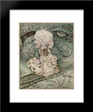 Lady Mouse In Mob Cap:  Modern Black Framed Art Print by Beatrix Potter