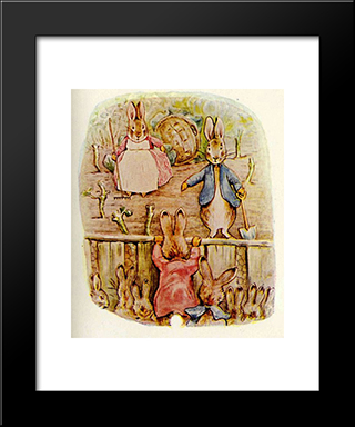Peter Rabbit - Benjamin And Flopsy Bunny:  Modern Black Framed Art Print by Beatrix Potter
