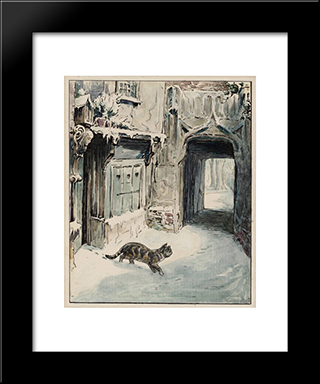 Simpkin Goes Out:  Modern Black Framed Art Print by Beatrix Potter