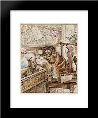 Simpkin Housekeeping:  Modern Black Framed Art Print by Beatrix Potter