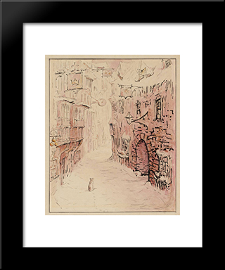 Simpkin In The Snowy Street:  Modern Black Framed Art Print by Beatrix Potter