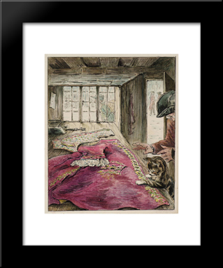 The Finished Coat:  Modern Black Framed Art Print by Beatrix Potter