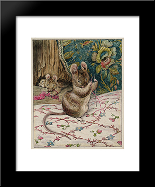 The Mice At Work.Threading The Needle:  Modern Black Framed Art Print by Beatrix Potter