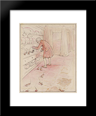 The Mice Escape:  Modern Black Framed Art Print by Beatrix Potter