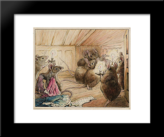 The Mice Hear Simpkin Outside:  Modern Black Framed Art Print by Beatrix Potter