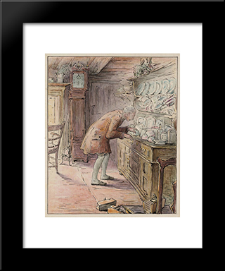 The Tailor Hears Noises:  Modern Black Framed Art Print by Beatrix Potter