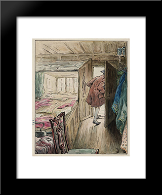 The Tailor Leaving His Workshop:  Modern Black Framed Art Print by Beatrix Potter