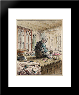 The Tailor Of Gloucester At Work:  Modern Black Framed Art Print by Beatrix Potter