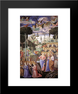 Angels Worshipping:  Modern Black Framed Art Print by Benozzo Gozzoli