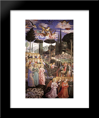 Angels Worshipping (Detail):  Modern Black Framed Art Print by Benozzo Gozzoli