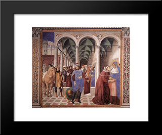 Arrival Of St. Augustine In Milan:  Modern Black Framed Art Print by Benozzo Gozzoli