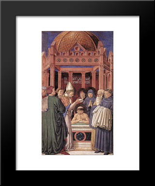 Baptism Of St. Augustine:  Modern Black Framed Art Print by Benozzo Gozzoli