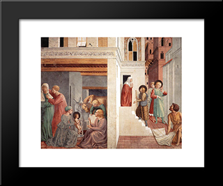 Birth Of St. Francis, Prophecy Of The Birth By A Pilgrim, Homage Of The Simple Man:  Modern Black Framed Art Print by Benozzo Gozzoli